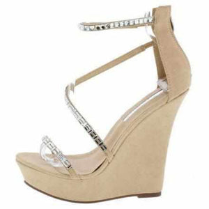 Women's Tans Rhinestone Platform Wedge Wedding Sandals 9 / Tan Wedges Edgy Couture