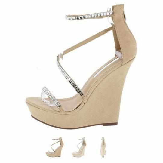 Women's Tans Rhinestone Platform Wedge Wedding Sandals  Wedges Edgy Couture