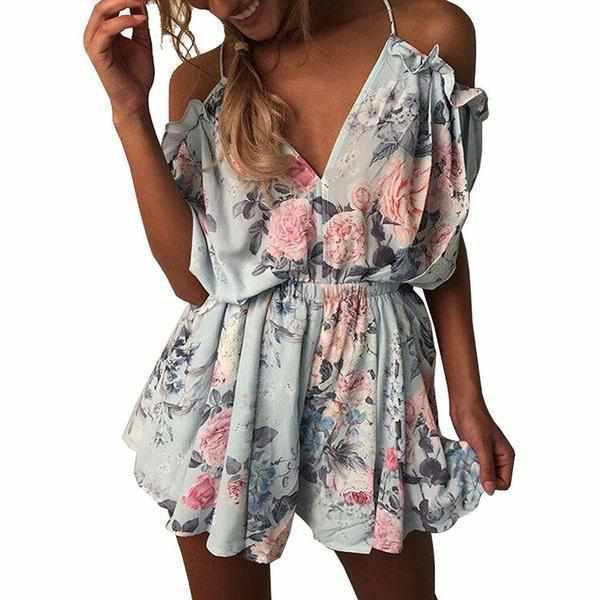 Women's Trendy Blue Floral Spaghetti Strap Ruffles Summer Romper XXL / Blue / Polyester Rompers Edgy Couture
