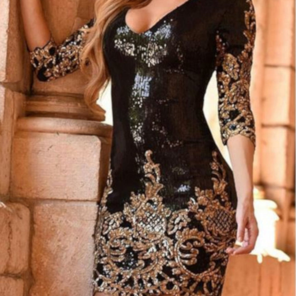 Women's Victorian Gold Sequin Qtr Sleeve NYE Party Dress