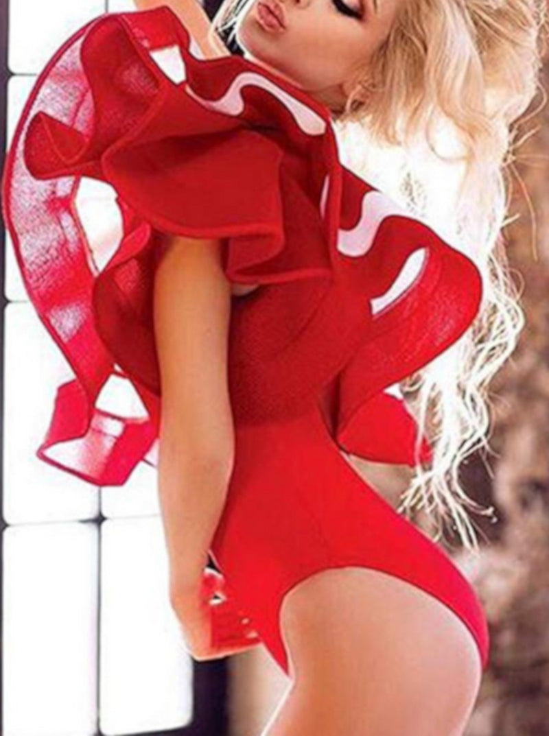Womens Vintage Red Boho One Piece Bodysuit Swimwear W/ Ruffles-Bodysuits-Small-Red-Edgy Couture
