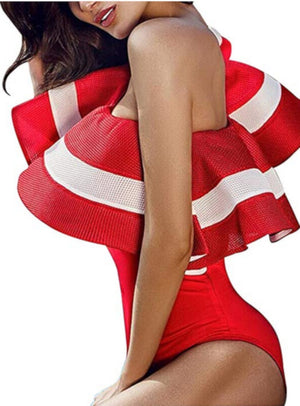 Womens Vintage Red Boho One Piece Bodysuit Swimwear W/ Ruffles-Bodysuits-Edgy Couture