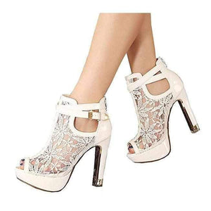 Women's White Wedding Lace Ankle Boot Stilettos 10 / White / PU Wedding Shoes Edgy Couture