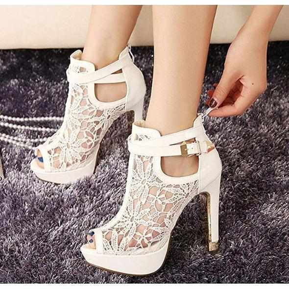 Women's White Wedding Lace Ankle Boot Stilettos  Wedding Shoes Edgy Couture
