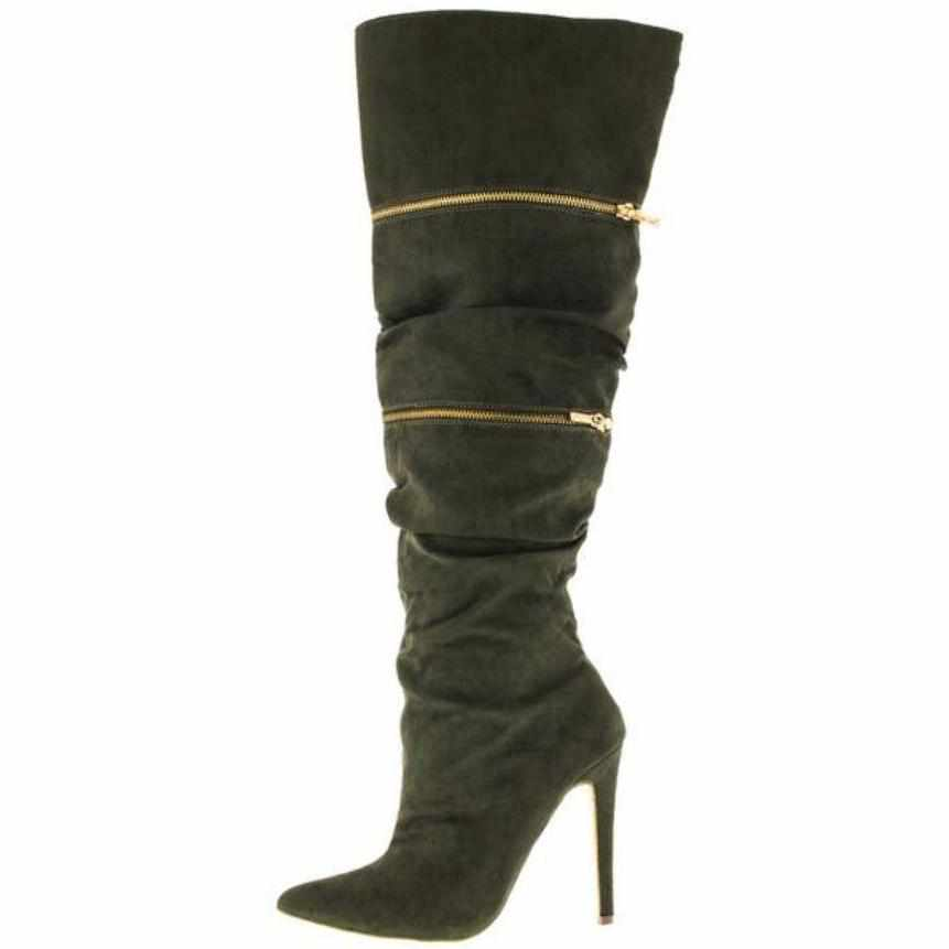 Women's Zaria Olive Green Faux Fur Platform Knee High Boots 8 / Olive / Faux Suede Knee High Boots Edgy Couture