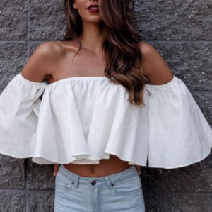 Trendy White Off The Shoulder Flowy Summer Crop Top W/ Ruffles