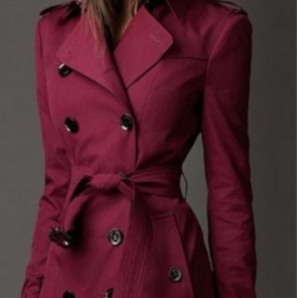Women's Dark Red Double Breasted Lightweight Trench Coat Rain Jacket