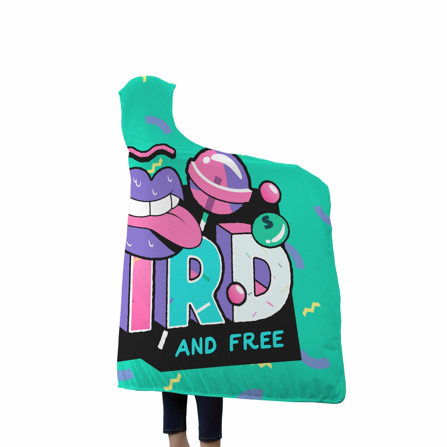 Awesome Cool Stay Weird and Free 90s Hooded Sherpa Blanket