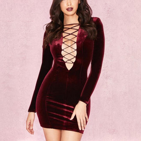 'Cadha' Deep V Lace Up Mini Bodycon Dress