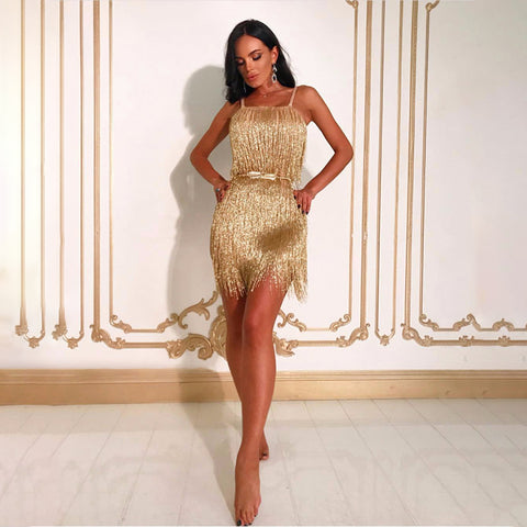 'Cacia' Gold Fringe with Belt Mini Bodycon Dress