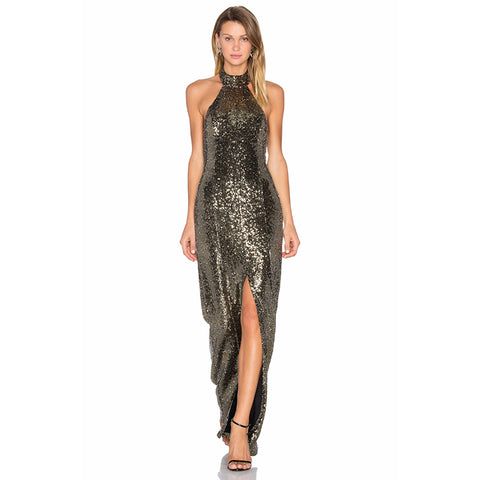 'Glenda' Backless Glitter Maxi Dress