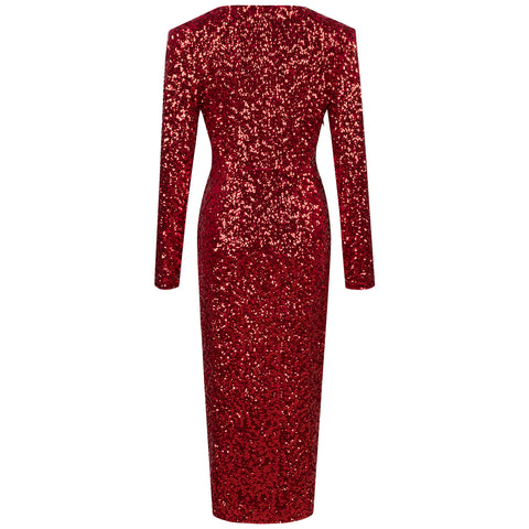 'Usha' Glitter Slit Long Bodycon Dress
