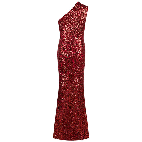 'Ulyana' One Shoulder Glitter Long Bodycon Dress