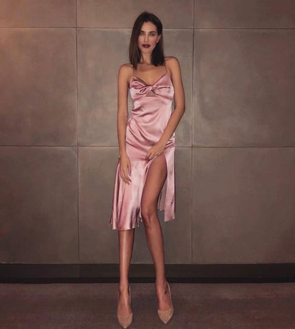'Kourtney' Slit Satin Dress
