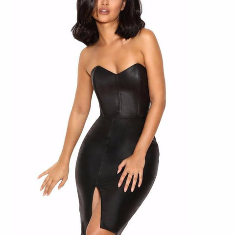 'Accalia' Bustier Slit Mini Bodycon Dress