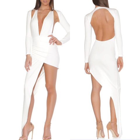 'Beth' Deep V Backless Mini Bodycon Dress
