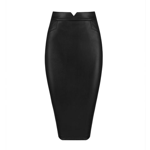 'Cardi' Midi Leather Skirt