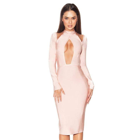 'Daenerys' Cut Out Midi Bodycon Dress