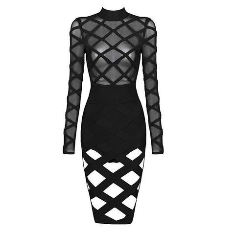 'Yana' High Neck See Through Midi Bandage Dress