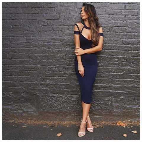'Anisha' Strappy Choker Midi Bandage Dress