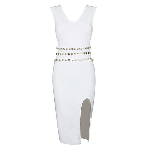'Alba' Detailed V Neck Mini Bodycon Dress