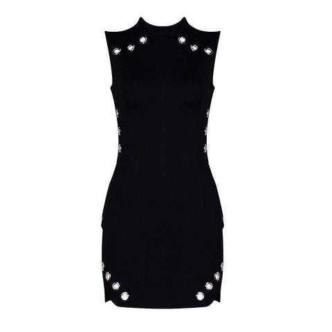 'Antonia' Detailed High Neck Mini Bodycon Dress