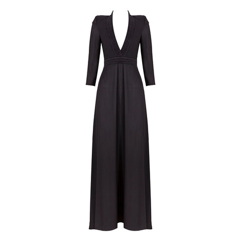 'Bahati' Deep V Long Sleeve Slit Maxi Dress
