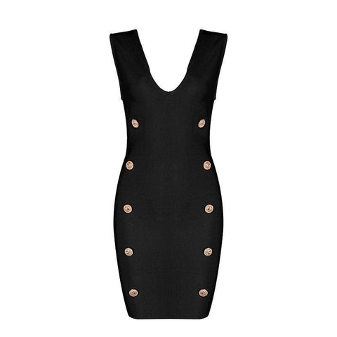 'Evangeline' Deep V with Buttons Mini Bodycon Dress