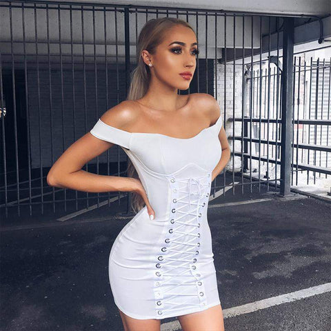 'Mia' Off Shoulder Mini Bandage Dress