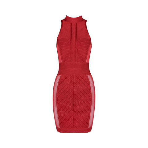 'Olga' High Neck Mini Bandage Dress