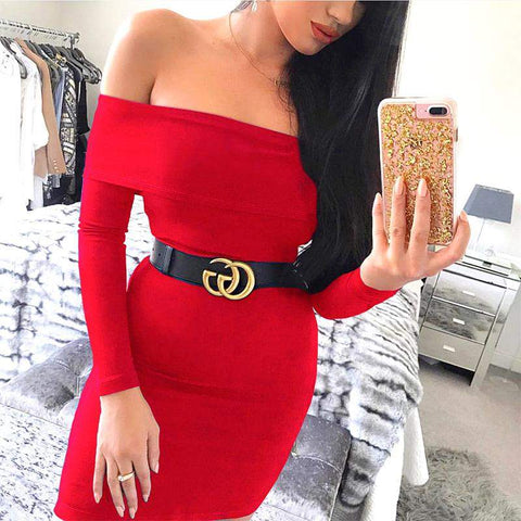 'Elle' Off Shoulder Mini Bodycon Dress