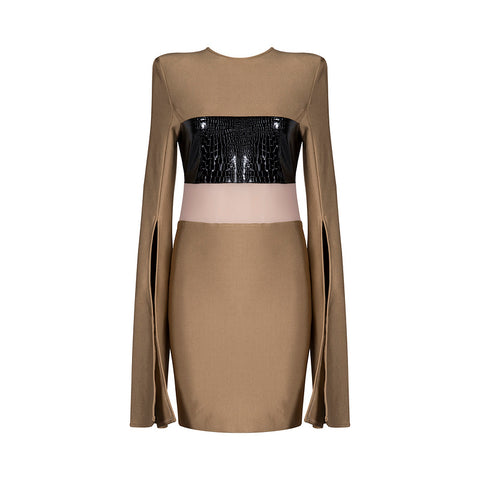 'Rhea' Flare Long Sleeve Mini Bodycon Dress