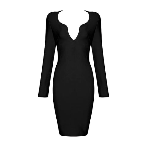 'Quenna' Deep V Long Sleeve Mini Bodycon Dress