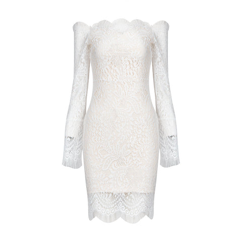 'Tiara' Off Shoulder Lace Mini Bodycon Dress