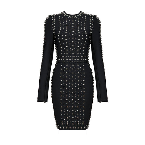 'Kendall' Long Sleeve Studded Mini Bodycon Dress