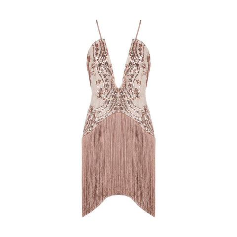 'Fiona' Deep V Fringe Mini Bodycon Dress