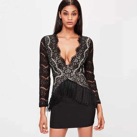 'Cadee' Deep V Lace Mini Bodycon Dress