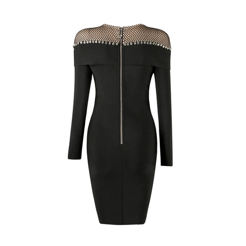'Cadence' Detailed Round Neck Mini Bodycon Dress