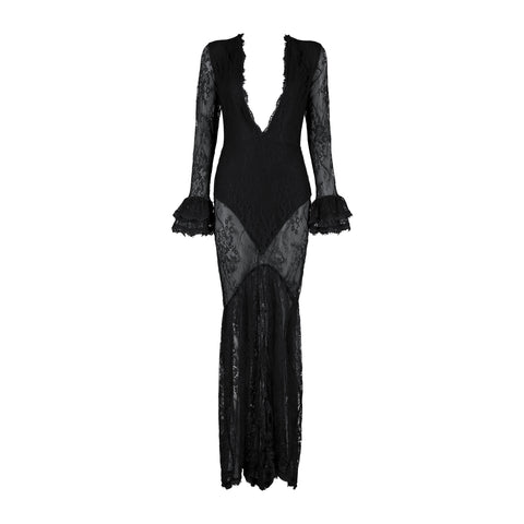 'Bexley' Deep V See Through Lace Long Bodycon Dress