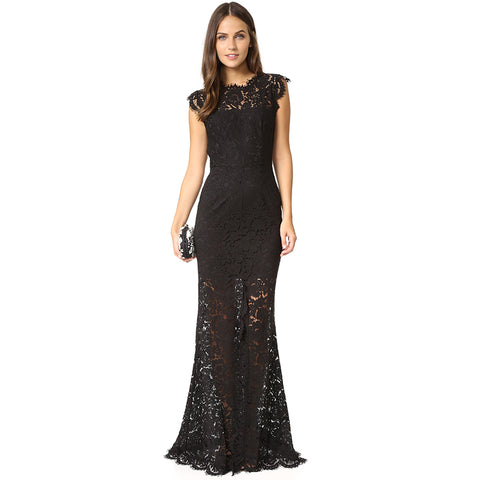 'Cairo' Backless Lace Long Bodycon Dress