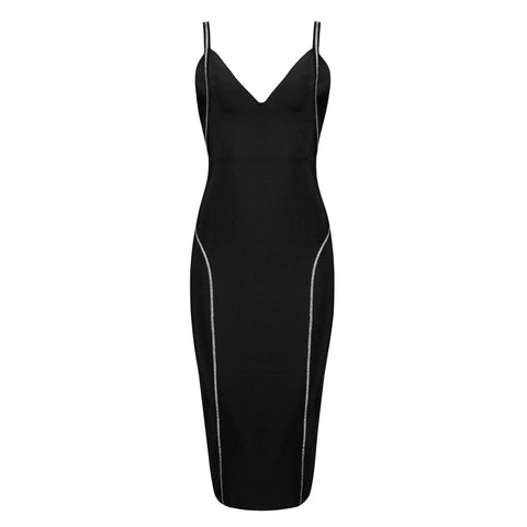 'Nala' V Neck Midi Bodycon Dress