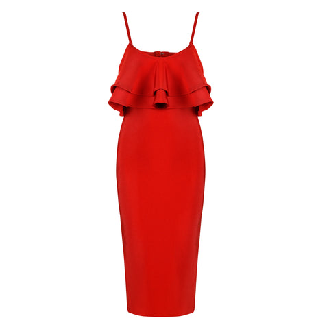 'Fanny' Sleeveless Ruffle Midi Bandage Dress