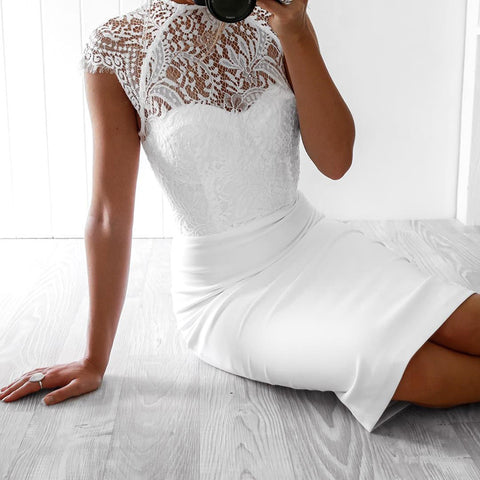 'Emma' Lace Midi Bandage Dress