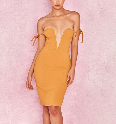 'Georgia' Deep V Off Shoulder Midi Bodycon Dress