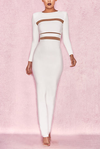 'Gabriella' Round Neck Slit Long Bodycon Dress