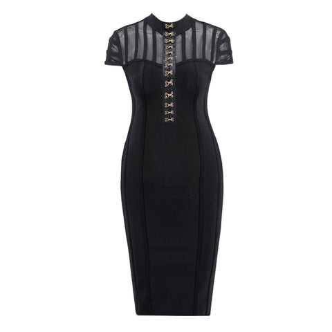 'Florence' High Neck Detailed Mini Bodycon Dress