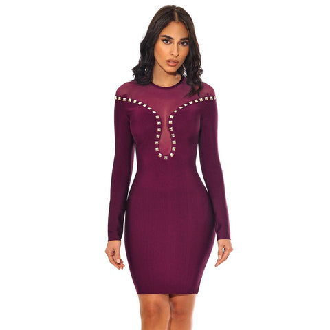 'Faye' Mesh and Studs Midi Bodycon Dress