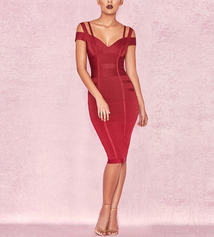 'Danica' Detailed V Neck Midi Bandage Dress
