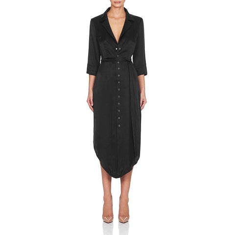 'Gladys' Deep V Button Up Midi Dress