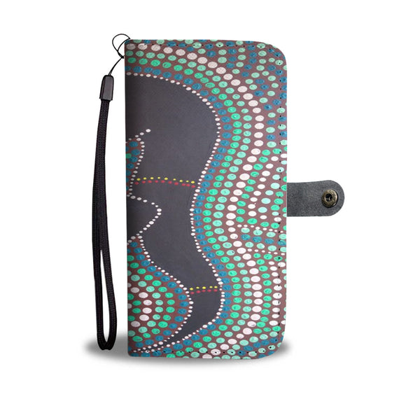 Kangaroo Indigenous Design Wallet Phone Case
